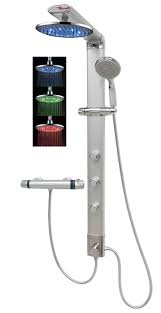 Duschpaneel Thermostat Led Regendusche Dusche Silber Eckmontage 035cs 0820 T