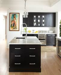 black and white kitchen ideas with pendant lamps and classic cabinet with regard to black and