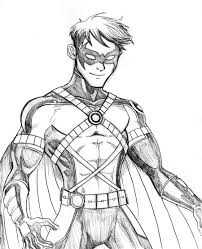 detailed drawing nightwing coloring pages