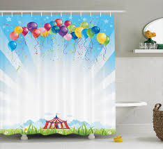 circus decor circus under clear sky and bunch of balloons wildflowers grass travel bathroom accessories 69w x 84l inches extra long by ambesonne