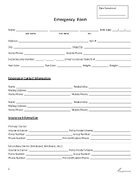 Employment Emergency Contact Form New Employee Form Template