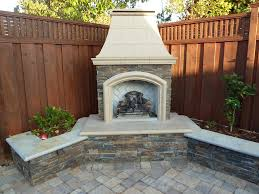 dbg customized outdoor gas burning fireplace with ledge stone sitting walls and planters