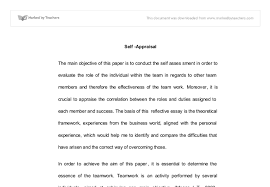 reflective essay on a teamwork task the main objective of this  document image preview