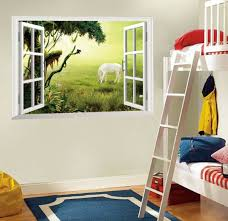 green grass white horse diy classic fake window art mural decal removable wall sticker pvc wallpaper