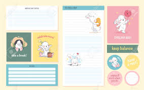 daily page calendar vector set of daily calendar planner page card stickers design