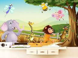 zoo wallpaper.  Zoo Cartoon 3D Wallpaper Forest Zoo Wall Murals Personalized Custom Photo  Kids Bedroom Nursery Room Decor Animal Wallpaperin Wallpapers From Home  On Wallpaper