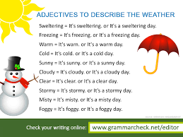 Adjectives To Describe The Weather Learn English Writing