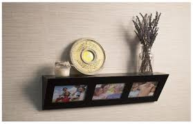 home sparkle wooden photo frame wall shelf black