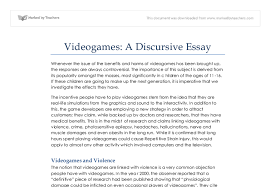 videogames a discursive essay gcse english marked by teachers com document image preview