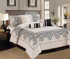 black and ivory bedding 7 pc east asia design comforter set
