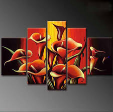black red yellow background with flowers on canvas modern oil paintings