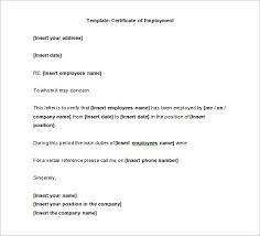 Employment Certificate Samples Sample Certificate Of Service Letter