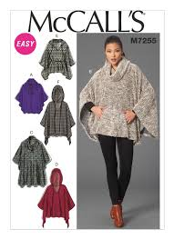 Poncho Sewing Pattern Custom Sewing Pattern For Misses' CowlNeck Or Hooded Ponchos And
