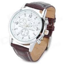 nary 6033 pu leather band analog quartz wrist couple watch for men nary 6033 pu leather band analog quartz wrist couple watch for men white brown 1 x 377a