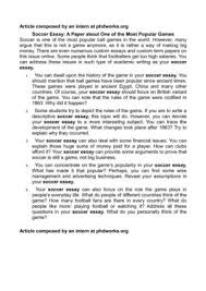 soccer essay a paper about one of the most popular games soccer essay a paper about one of the most popular games