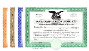 Stock Certificats Corporation Stock Certificates