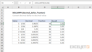 Fraction To Decimal Chart 1 32 How To Use The Excel Dollarfr Function Exceljet