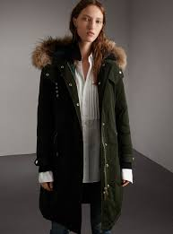 burberry down filled parka coat with detachable fur trim 1 295 previously 1 795