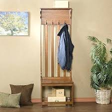 Hall Tree Coat Rack Plans Entryway Storage Bench With Coat Rack Mission Style Oak Wood 91