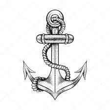 ручной обращается элегантный корабль морской якорь с веревкой