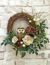 burlap and twig owl wreath ivory and brown neutral wreath front door wreath gvine wreath silk