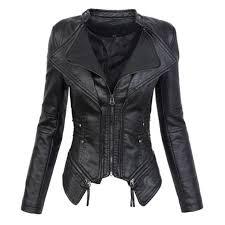 faux leather pu motorcycle biker jacket womens gothic pu leather zipper long sleeve slim women s jackets coats outerwear black