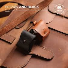 airpods leather case brown