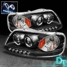 Black 97 03 F150 Expedition Dual Halo Projector Led Headlights Lights Left Right Ford F150 Ford Expedition Ford