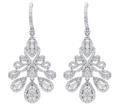 diamond chandelier earrings 5 00ct natural certified solid gold wedding