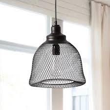 Mesh Pendant Light 1 Light Pendant Lighting With Metal Mesh Lamp Shade Black