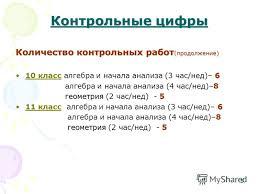 Презентация на тему Нормативная база деятельности учителя  5 5 Контрольные цифры Количество контрольных работ
