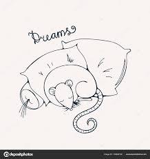 Illustratie Met Een Vrolijke Rat Slapen Op Een Kussens Kleurplaat