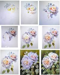 how to paint beautiful roses with watercolour step sheet by doris joa