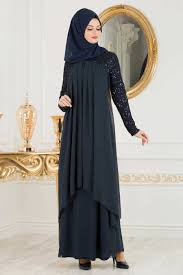 Neva Style Navy Blue Hijab Evening Dress 25651l Artofit