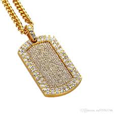 fashion hip hop gold dog tag pendant necklaces mens jewelry full rhinestone american star popular wear necklace men