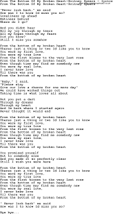 Love Song Lyrics Forfrom The Bottom Of My Broken Heart Britney Spears