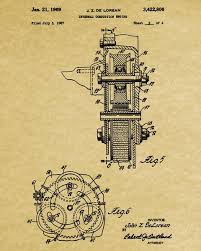 delorean blueprint automotive car engine patent print ontrendandfab