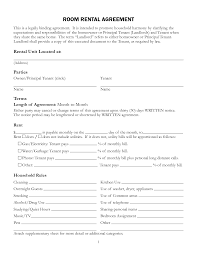 Room For Rent Contracts Free Printable Rental Lease Agreement Form Template Bagnas 1