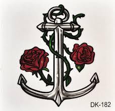 временная тату якорь с розами Dk 182 6x6 см