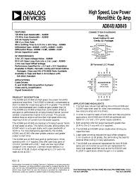Design Aspects Of Monolithic Op Amps A High Speed Low Power Monolithic Op Amp Ad848 Ad849