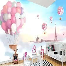 girls bedroom mural custom poster wallpaper cartoon children room decoration pink hot balloon wall mural wall