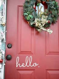 a festive red door decorated for using command s