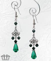gothic silver black green crystal chandelier earrings victorian style drop e35