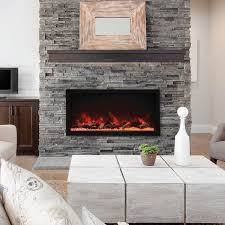 45 wide 18 high extra tall indoor or outdoor built in only electric fireplace with black steel surround