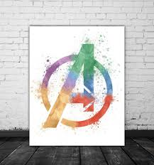 marvel avengers logo watercolor marvel comic book wall art poster