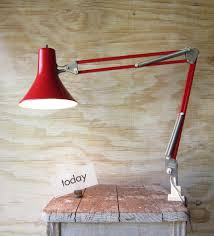 red luxo swing arm lamp with clamp anglepoise lamp