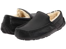 ugg ascot leather black leather men s slippers