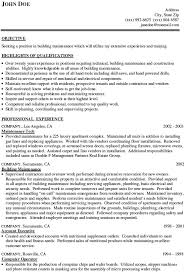 General Maintenance Worker Resume Sample Building Maintenance Resume Skills  Summary