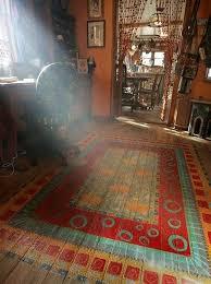 carpet paint. a bohemian rug painted on wooden bedroom floor carpet paint