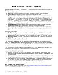 How To Write Your First Resume 2 How Do You Write Resume To .